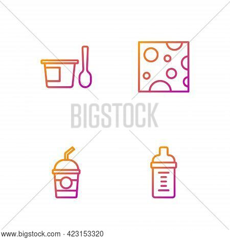 Set Line Baby Milk In A Bottle, Milkshake, Yogurt Container With Spoon And Cheese. Gradient Color Ic