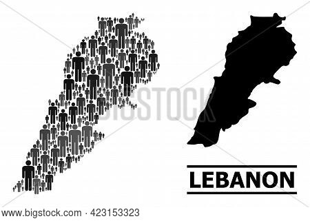 Map Of Lebanon For Social Proclamations. Vector Demographics Collage. Collage Map Of Lebanon Organiz