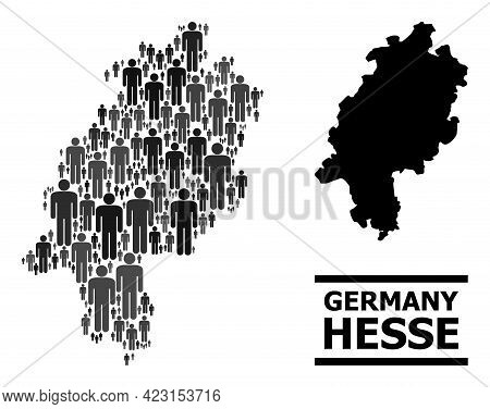 Map Of Hesse State For Demographics Agitation. Vector Demographics Abstraction. Abstraction Map Of H