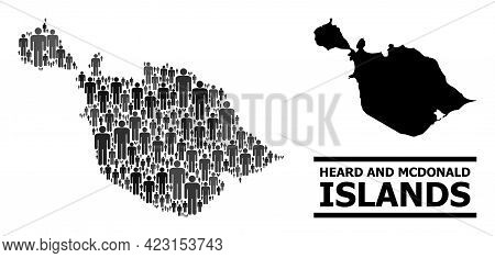 Map Of Heard And Mcdonald Islands For Politics Agitprop. Vector Population Collage. Concept Map Of H