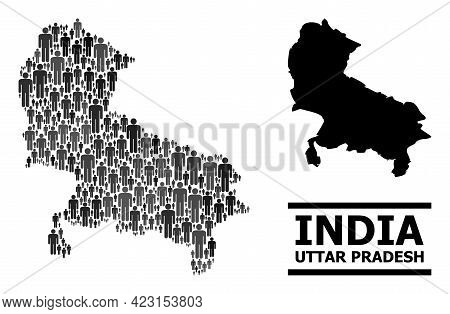 Map Of Uttar Pradesh State For Politics Projects. Vector Demographics Mosaic. Collage Map Of Uttar P