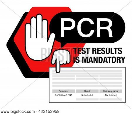 Stop - Mandatory Pcr Testing Medical Certificate For Border Crossing. Hand Holding Paper With Intern