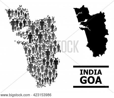 Map Of Goa State For Politics Posters. Vector Population Collage. Composition Map Of Goa State Creat
