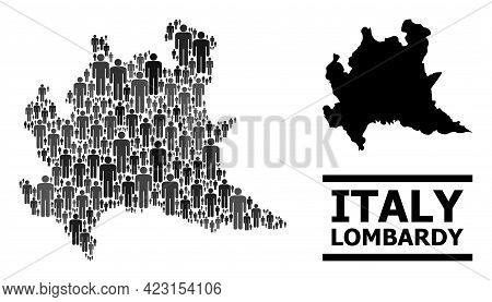 Map Of Lombardy Region For Demographics Projects. Vector Population Mosaic. Mosaic Map Of Lombardy R