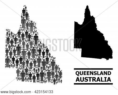 Map Of Australian Queensland For Demographics Posters. Vector Demographics Collage. Abstraction Map