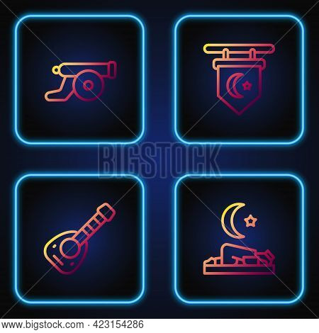 Set Line Muslim Man Prays, Lute, Ramadan Cannon And Star And Crescent. Gradient Color Icons. Vector