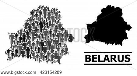 Map Of Belarus For Demographics Projects. Vector Demographics Mosaic. Mosaic Map Of Belarus Made Of