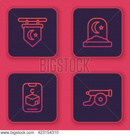 Set Line Star And Crescent, , Muslim Cemetery And Ramadan Cannon. Blue Square Button. Vector