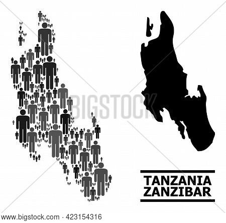 Map Of Zanzibar Island For Political Doctrines. Vector Nation Collage. Collage Map Of Zanzibar Islan