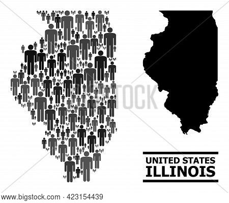 Map Of Illinois State For Demographics Posters. Vector Population Collage. Collage Map Of Illinois S