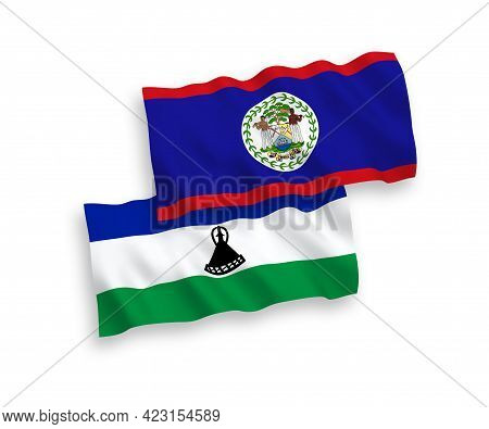 National Fabric Wave Flags Of Belize And Lesotho Isolated On White Background. 1 To 2 Proportion.