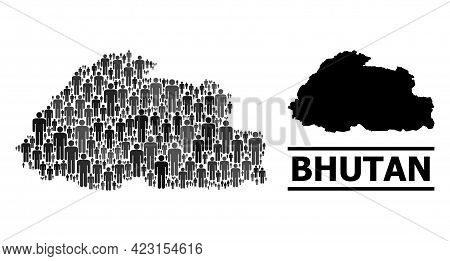 Map Of Bhutan For Demographics Promotion. Vector Demographics Collage. Concept Map Of Bhutan Combine
