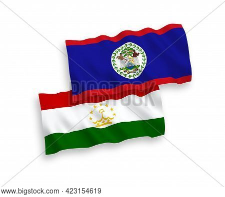 National Fabric Wave Flags Of Belize And Tajikistan Isolated On White Background. 1 To 2 Proportion.