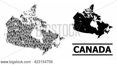 Map Of Canada For National Propaganda. Vector Demographics Collage. Collage Map Of Canada Organized