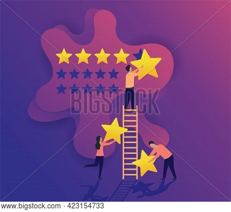 5 Stars Feedback - People Holding Stars And Collecting Them Into Positive Review - Best Satisfaction