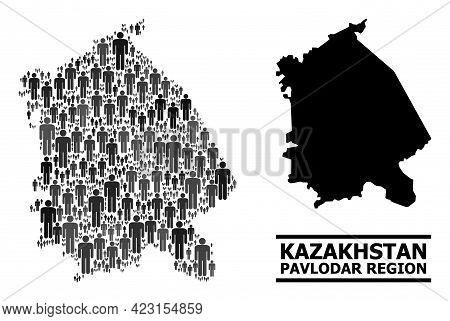 Map Of Pavlodar Region For Demographics Promotion. Vector Demographics Mosaic. Concept Map Of Pavlod