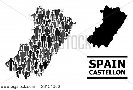 Map Of Castellon Province For Demographics Promotion. Vector Demographics Collage. Concept Map Of Ca