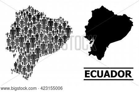 Map Of Ecuador For Demographics Posters. Vector Demographics Collage. Collage Map Of Ecuador Created