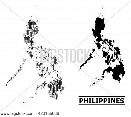 Map Of Philippines For Demographics Doctrines. Vector Population Abstraction. Concept Map Of Philipp