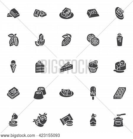 Chocolate And Cocoa Vector Icons Set, Modern Solid Symbol Collection, Filled Style Pictogram Pack. S