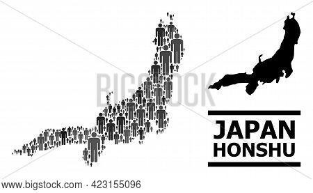 Map Of Honshu Island For Demographics Propaganda. Vector Demographics Abstraction. Abstraction Map O