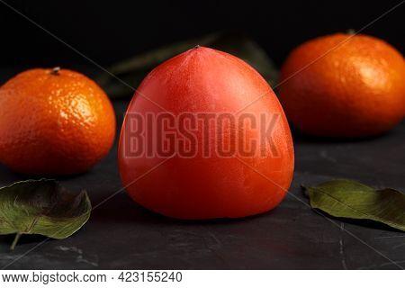 Persimon Fruit, Kaki Isolated. Sweet Exotic Fuyu. Sharon Fruits, Fresh Nutrition, Juicy Vegetarian D