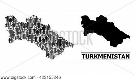 Map Of Turkmenistan For Demographics Doctrines. Vector Demographics Abstraction. Pattern Map Of Turk