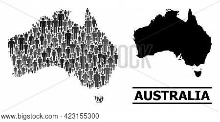 Map Of Australia For Demographics Promotion. Vector Demographics Abstraction. Concept Map Of Austral