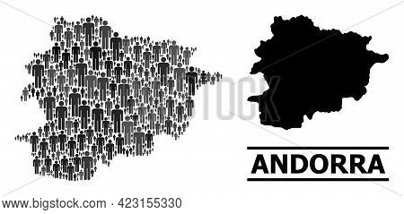 Map Of Andorra For Demographics Purposes. Vector Demographics Abstraction. Pattern Map Of Andorra Cr