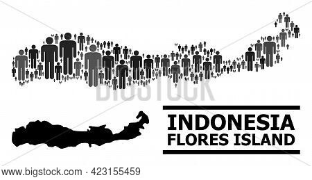 Map Of Indonesia - Flores Island For National Applications. Vector Demographics Mosaic. Concept Map