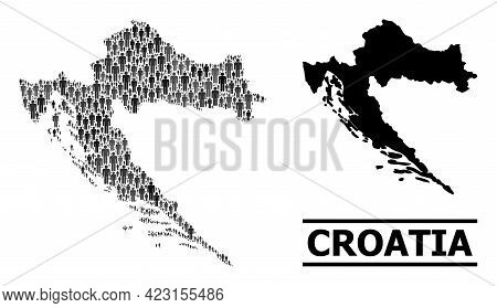 Map Of Croatia For National Posters. Vector Population Mosaic. Mosaic Map Of Croatia Made Of People