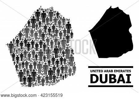 Map Of Dubai Emirate For Politics Projects. Vector Population Collage. Composition Map Of Dubai Emir
