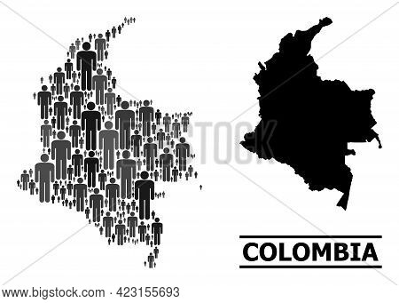 Map Of Colombia For Demographics Propaganda. Vector Demographics Abstraction. Composition Map Of Col