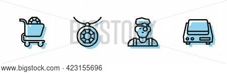 Set Line Jeweler Man, Jewelry Online Shopping, Pendant Necklace And Electronic Jewelry Scales Icon.