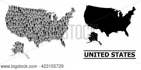 Map Of Usa And Alaska For Social Posters. Vector Population Collage. Collage Map Of Usa And Alaska C