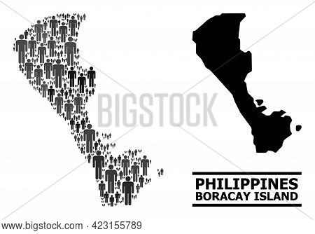 Map Of Boracay Island For Political Propaganda. Vector Population Mosaic. Pattern Map Of Boracay Isl