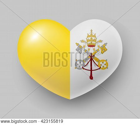 Heart Shaped Glossy National Flag Of Vatican. European Country National Flag Button, Vatican Symbol