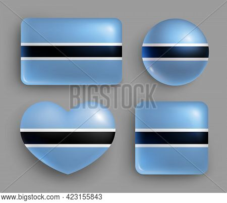 Set Of Glossy Buttons With Botswana Country Flag. Southern Africa Country National Flag, Shiny Geome