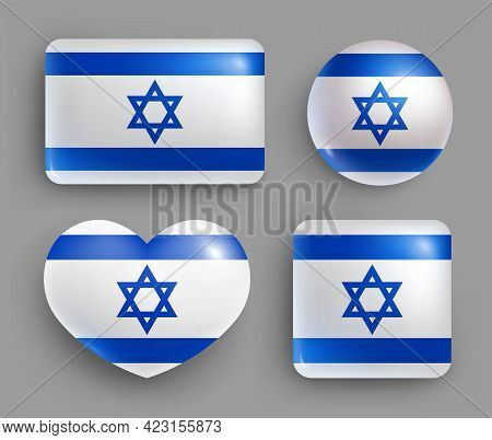 Set Of Glossy Buttons With Israel Country Flag. Middle East Country National Flag, Shiny Geometric S