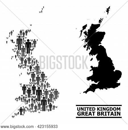 Map Of Great Britain For Demographics Agitprop. Vector Demographics Abstraction. Pattern Map Of Grea