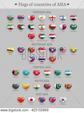 Set Of Asia Countries Flags Heart Shaped Buttons. Asian States National Flags Glossy Badges. Symbols