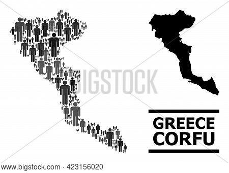 Map Of Corfu Island For Demographics Applications. Vector Demographics Mosaic. Collage Map Of Corfu