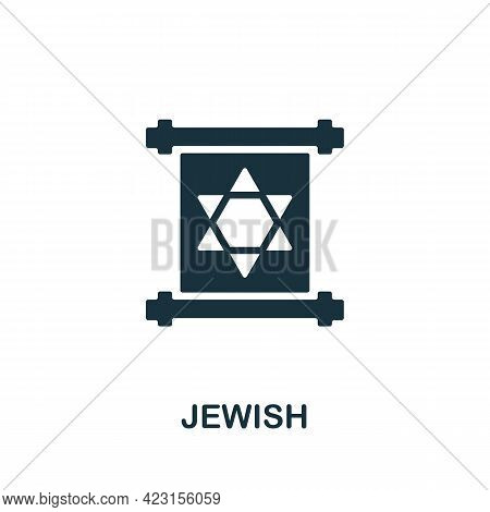 Jewish Icon. Monochrome Simple Element From Fortune Teller Collection. Creative Jewish Icon For Web
