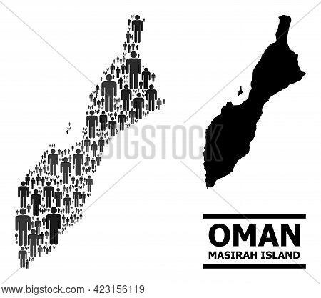 Map Of Masirah Island For Demographics Doctrines. Vector Demographics Abstraction. Abstraction Map O