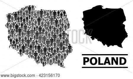 Map Of Poland For Demographics Agitation. Vector Nation Mosaic. Mosaic Map Of Poland Created Of Peop