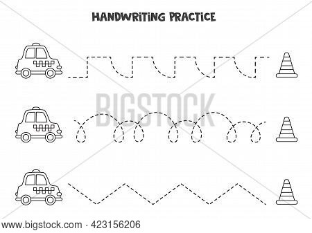 Tracing Lines For Kids With Cute Black And White Taxi And Traffic Cone. Handwriting Practice For Chi