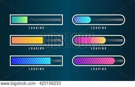 Set Of Loading Bar Vector Illustration. Progress Visualization. Loading Status Collection. Web Desig