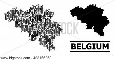 Map Of Belgium For Demographics Proclamations. Vector Demographics Collage. Concept Map Of Belgium C