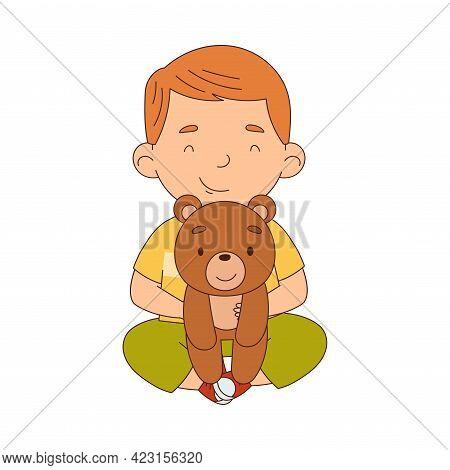 Cute Boy Playing With Stuffed Teddy Bear Toy Having Fun On His Own Enjoying Childhood Vector Illustr