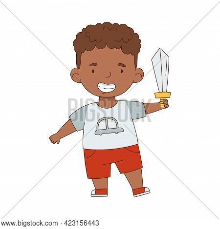 Cute African American Boy Playing With Toy Sword Having Fun On His Own Enjoying Childhood Vector Ill